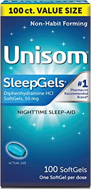 Unisom Sleepgels Nighttime Sleep Aid Mg Diphenhydramine Hcl Soft Gel Capsules 1 Pack (100 Count) Multi