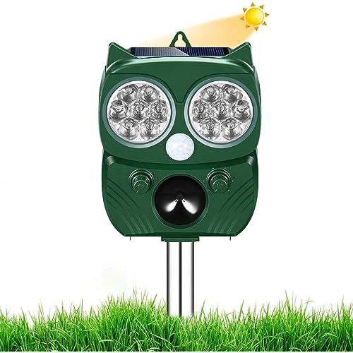 Repellente Gatti, Repellente Ultrasuoni Energia Solare IP66 Impermeabile a Frequenza Regolabile per Allontanare Animali 5 Modalità Regolabile Repeller Animali Ultrasound Repellente per Animali