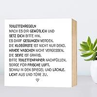 Toiletten-Regeln - einzigartiges Holzbild 15x15x2cm zum Hinstellen/Aufhängen, echter Fotodruck mit Spruch auf Holz - schwarz-weißes Wand-Bild Aufsteller Zuhause Büro zur Dekoration oder als Geschenk