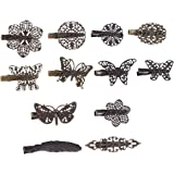 Lurrose 12pcs Vintage pinza de pelo de bronce horquillas mariposa hoja flor pluma en forma de pasadores para mujeres niñas
