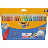 BIC Kids Fasermaler Kid Couleur, 24er Set, Auswaschbare Kinder-Filzstifte in bunten Farben