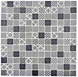 Retro Vintage Mosaik Fliese ECO Recycling GLAS ECO schwarz patchwork für WAND BAD WC DUSCHE KÜCHE FLIESENSPIEGEL THEKENVERKLEIDUNG BADEWANNENVERKLEIDUNG Mosaikmatte Mosaikplatte