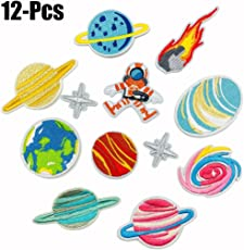 Fascigirl Applique Patch Set Planet Star Shape Sew on Patch Embroidery Patch