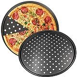 Plaques Rondes de Pizza, NALCY Plateau à Pizza, Revêtement Anti-adhérent Assiettes À Pizza, Plateaux à Pizza Perforés pour Fo