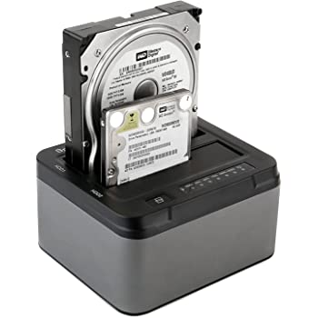 Hard Drive Duplicator/Cloner,Spinido Offline Hard Drive Dock Station,Function USB 3.0 to 3.5 or 2.5 Inch Tool-free External Aluminum Dual Bay SATA III Optimized For SSD and HDD 2*6TB(Blackgrey)