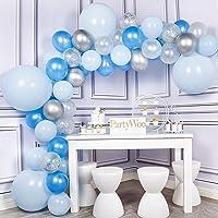 PartyWoo Ballon Bleu, 59 pcs Ballons Pack de Ballon Bleu Pastel, Ballon Bleu, Ballon Argent, Ballon Blanc, Ballon Bleu…