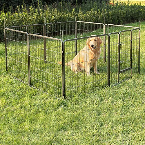 Songmics 8-tlg Welpenauslauf für Hunde Kaninchen kleine Haustiere 80 x 80 cm Farben auswählbar - 3