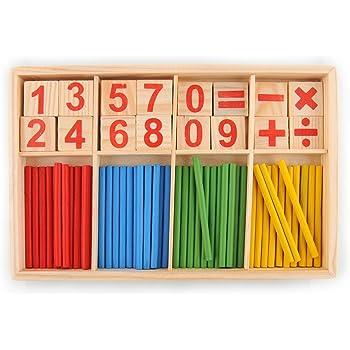 hibote 52 Mandrini carte numerate di legno e il conteggio Rods con la scatola, Montessori Materiale Sticks matematica materiale didattico per bambini Kid