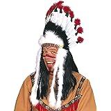 Widmann 3305B – indiskt smycke med fjädrar, för vuxna, vit, svart, röd, fjädersmycke, hemlingshuvudsmycke, indianer, karneval