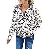 Sudaderas con estampado de leopardo para mujer, sudadera con cremallera de 1/4, sherpa, blusa informal de manga larga