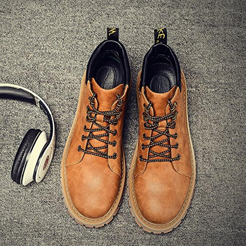 HL-PYL-Martin botas botas masculino Volver al antiguo Jefe de alta zapatos de cuero hombres botas,39,amarillo