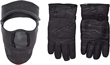 H-Store Balaclavas Mask Balaclava Grey Filter Anti Pollution Dust Sun Protecion Face Cover Mask With Black Winter Gloves/ Bike Gloves/ Biker Gloves/ Motorcycle/ Bike Racing/ Riding/ Gym / Fitness / Full Fingers Gloves Best Grip For Men Women