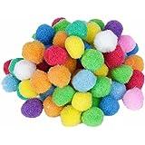 200pcs Boules de Pompon Multicolores Rondes