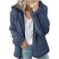 HHWY Teddy, giacca in pile da donna, tinta unita, con chiusura lampo, con cappuccio, giacca invernale da donna, corta…