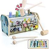 Fajiabao Montessori Bebe - Jouet en Bois Jeux Montessori Educatif Enfant 2 3 4 5 Ans Banc à Marteler 3 en 1 avec Xylophone Be