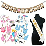 Party Propz Baby Shower Decorations Props Material Set-33Pcs Banner,Sash and Photo Booth Props for Gender Reveal,Maternity,Ba