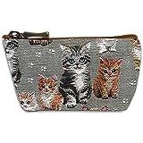 Royal Tapisserie [Q6363] - Handgefertigte Handtasche 'Royal Tapisserie' grau braun (Kätzchen) - 12x8x4 cm.