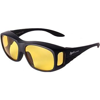 Rapid Eyewear SOBRE GAFAS NOCTURNAS CONDUCCION para hombres y mujeres. HD gafas noche con lentes ámbar antirreflectantes (AR)