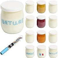 Monboco | lot de 12 Pots de yaourt en verre avec couvercles hermétiques | Fabrication Française | pour yaourtière…