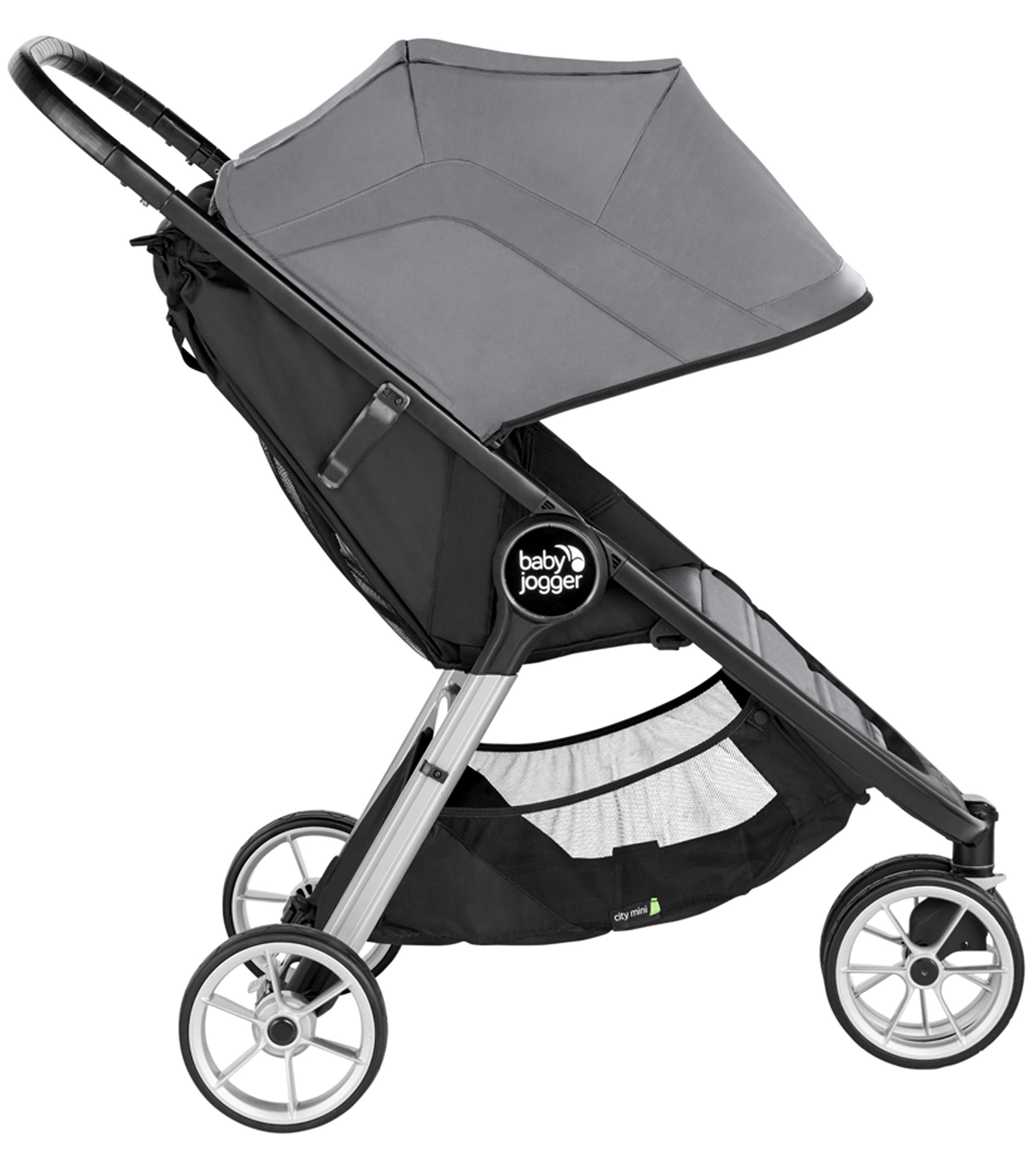 baby jogger City Mini 2 Single Stroller Slate Baby Jogger The baby jogger city mini 2 has an all new lightweight and compact design with the signature one-hand compact fold, with an auto-lock it's remarkably nimble and ready for adventure Lift a strap with one hand and the city mini 2 folds itself: simply and compactly. The auto-lock will lock the fold for transportation or storage The seat, with an adjustable calf support and near-flat recline, holds a child weighing up to 22kg and includes a 5-point stroller harness to keep them comfortable and safely secured 2