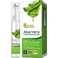 Oriental Botanics Aloe Vera, Green Tea & Cucumber Eye Radiance Under Eye Gel Roll on to Reduce Dark Circles, Puffiness…