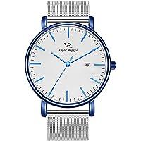 Vigor Rigger Herren Quarzuhr ultradünne Schwarz Armbanduhr für Damen und Herren Classic Minimalistisches Design mit Datum Kalender und Schwarz Band