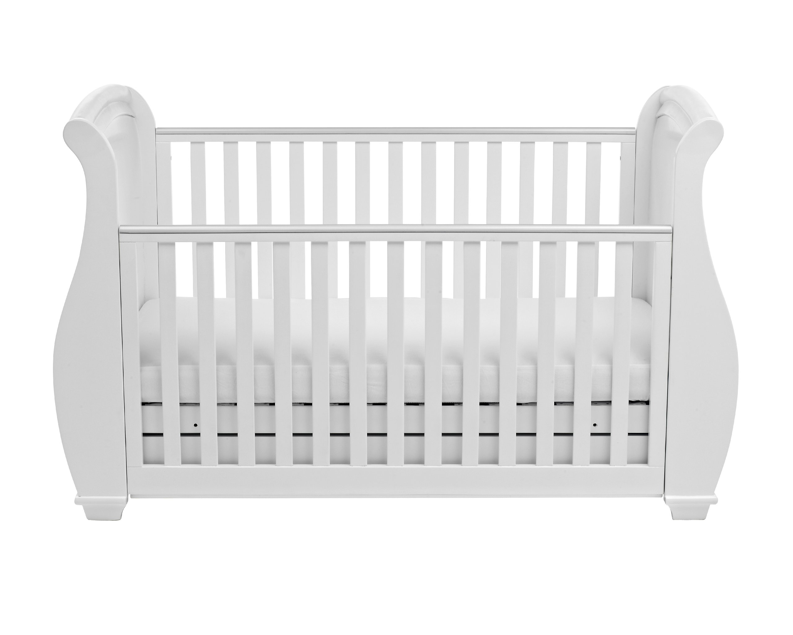 Babymore Bel Sleigh Cot Bed Dropside with Drawer (White)  Magnificent sleigh with appealing look of grandeur and solidity. Easily convert to junior bed/sofa/day bed, Meet British and European safety standards Single handed drop side mechanism allow easy access to your baby. 6