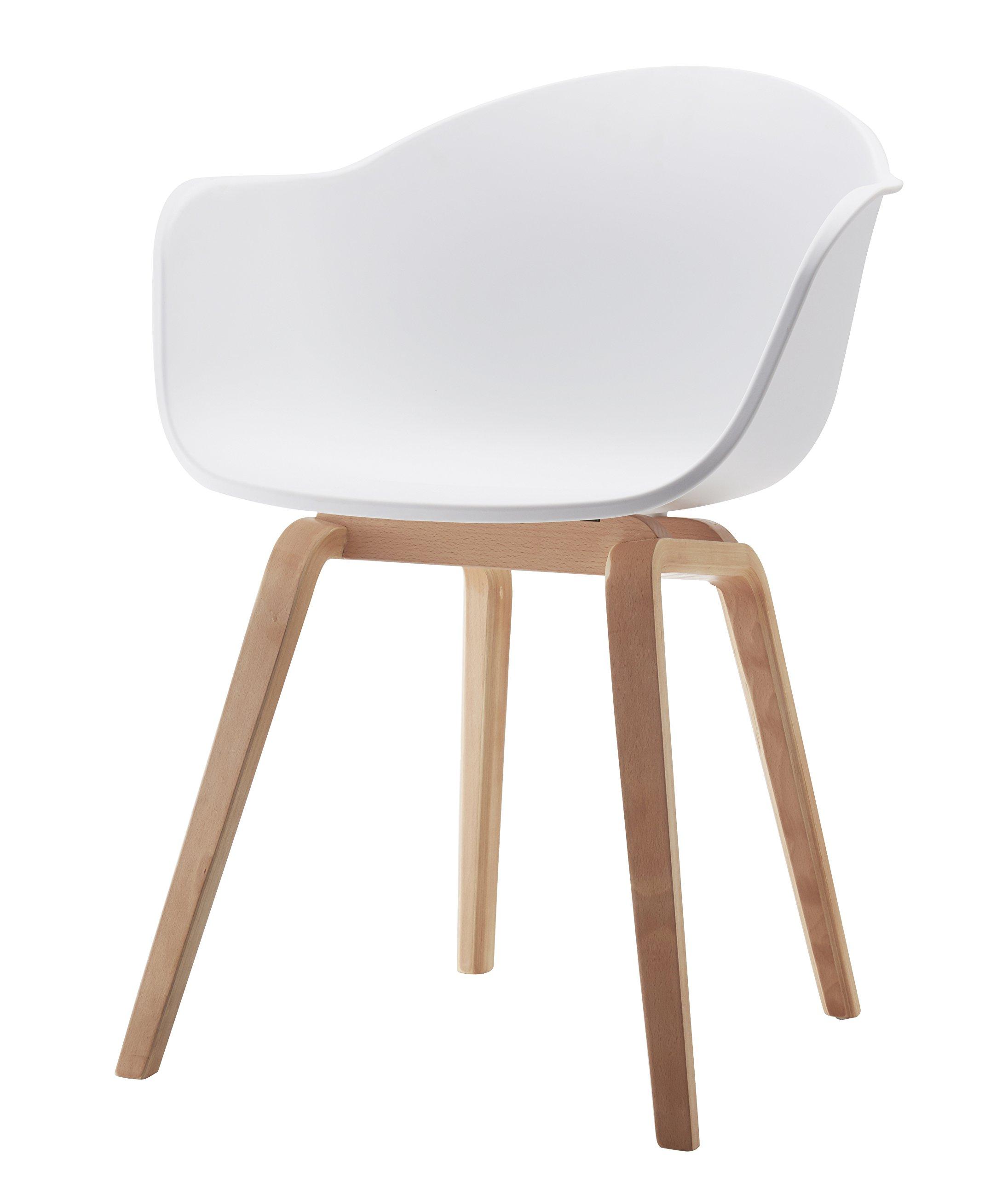 Damiware Juliet Wohnzimmerstuhl Esszimmerstuhl 2er-Set Grau Polypropylen und Buchenholz Retro Design Stuhl für Büro Lounge Küche Wohnzimmergrey (Grau) 1