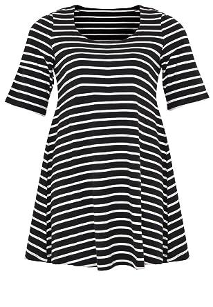 Yoek Damen Übergrößen T-shirt mit Streifen Schwarz / Weiß, 46/48