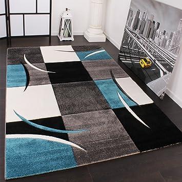 Teppich türkis  Designer Teppich mit Konturenschnitt Karo Muster Türkis Grau ...