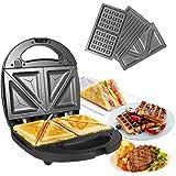 OZAVO Tostiera, Waffles piastra, Sandwich maker (3 in 1), 750w, Termostato regolabile, Piastre antiaderent, Tostiera