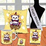 ODDCLICK Polycotton 100TC Cushion Mug Keychain Greeting Card, 12x12 inch, 2 Happy Birthday Sash, 1 Cushion Cover With Filler,