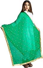 Lionize Women's Chiffon Dupatta with Golden Butti work and Lace