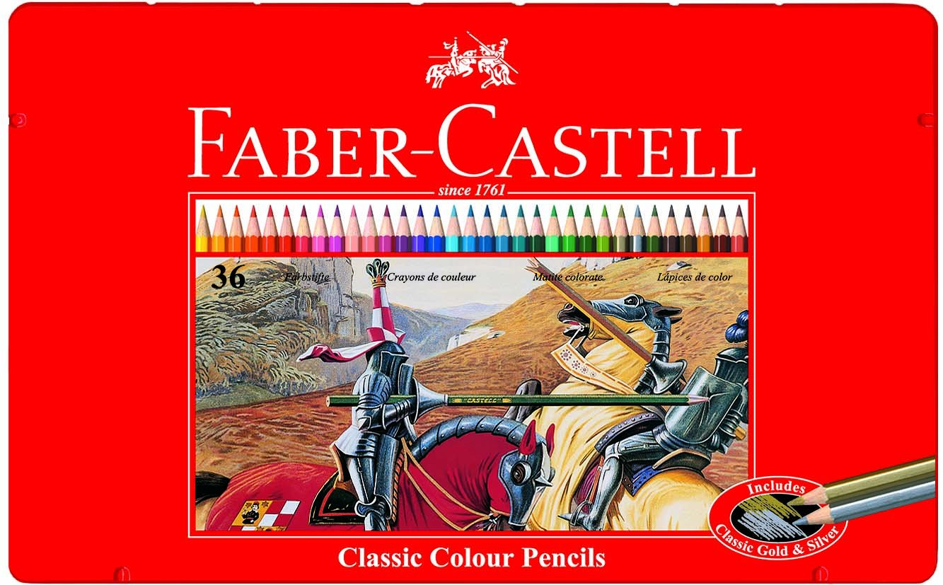 Faber Castell 115846 – Estuche de metal con 36 ecolápices hexagonales de colores, lápices escolares, multicolor