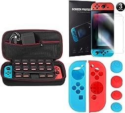 Younik 5 in 1 Nintendo Switch Zubehör, inkusive Nintendo Switch Tragbare Tasche/Joy-Con Gel Schutzhülle/Switch Displayschutzfolie (3 Mal)