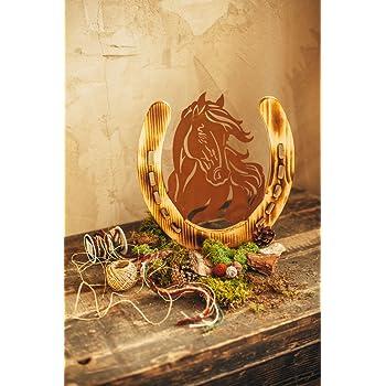 Unbekannt Pferd Pony Portrait Metall Holz Edelrost Rost Rostfigur ...