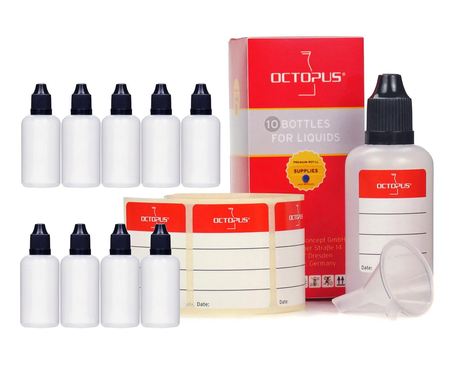 10 x 50 ml liquid bottles with funnels + labels: for e-liquids, e-cigarettes, plastic bottles made of PE LDPE, dosing bottles, dropping bottles or squeeze bottles + white lids with child safety lock 1