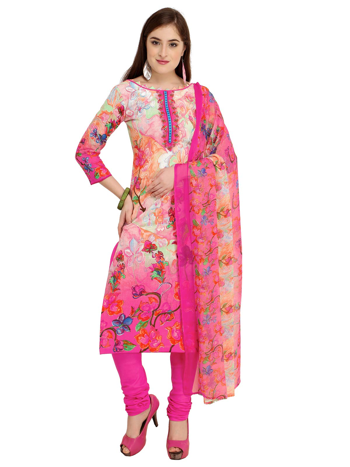 Kanchnar Women's Cotton Pink and CreamSalwar Suit