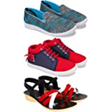 Earton Comfortable Sneaker, Loafer (Walking) Washable Multicolor Shoes for Women Pack of 3 Combo(O)-1544-1255-979