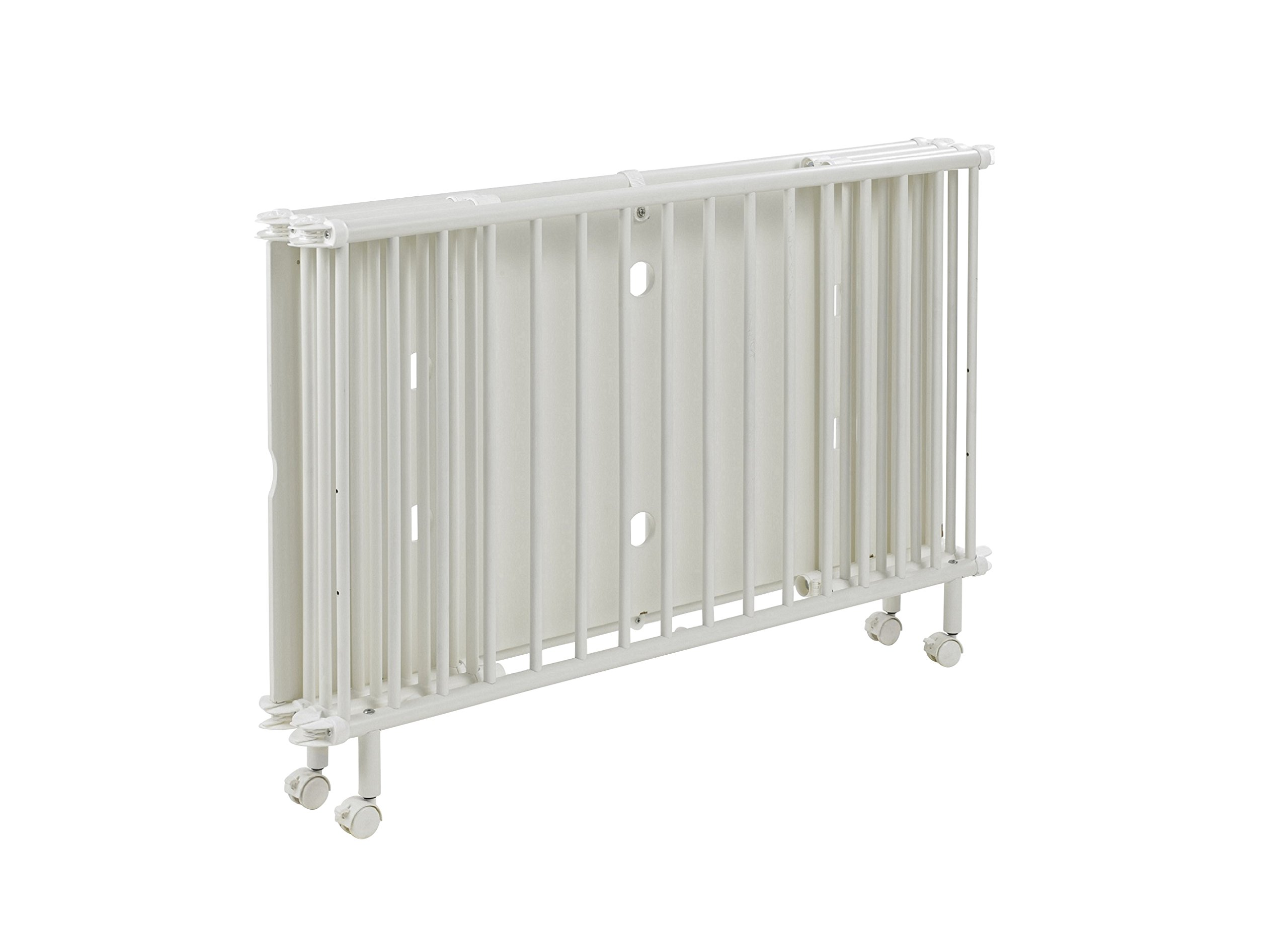 Geuther - Folding Wooden Cot Mayla (60 x 120 cm, White)  Innovative fold away wooden cot Compact foldable design for easy storage Four lockable wheels for simple transportation around the home 2