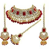 I Jewels 18K Gold Plated Traditional Handcrafted Faux Kundan & Pearl Studded Bridal Choker Necklace Jewellery Set with Earrin