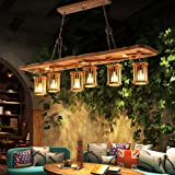 Lampe À Suspension Lustre Vintage Luminaire Plafonnier E27 Bois Rétro Style Industriel Lampe Réglable Hauteur Suspendue Cuisi