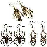 3 Pairs Gothic Skull Earring Studs,Skull Skeleton Drop Earrings for Men Women,Hypoallergenic,for Hallloween Party Cosplay