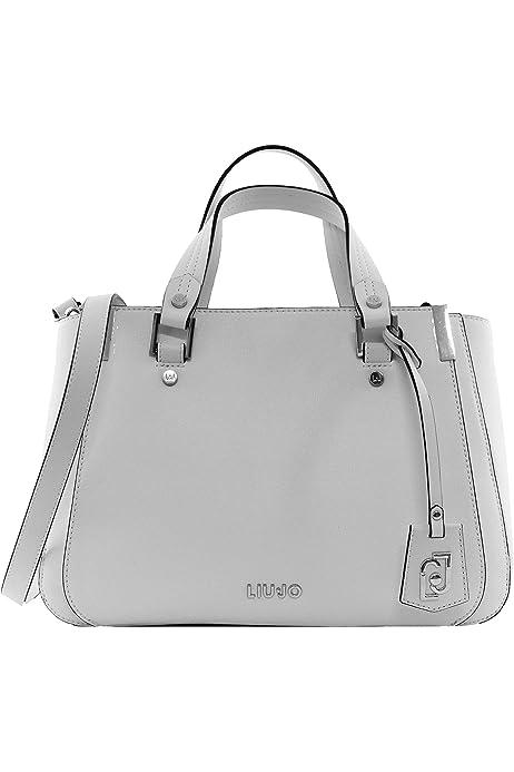 Borsa Liu-jo Double zip satchel M a mano// tracolla a righe cervo// bianco BS20LJ9