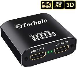 HDMI Splitter Techole Aluminium 4K HDMI Verteiler 1 in 2 Out Unterstützt HDCP, 4K, 3D, UHD, 1080P, HDMI Splitter 1 auf 2 für Xbox, PS4, PS3, Roku, Blu-Ray-Player, Firestick, HDTV und Apple TV. (Inklusive Micro USB Kabel)