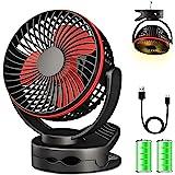 Clip sur ventilateur, mini-ventilateur de bureau à piles, ventilateur de poussette portable ultra silencieux à 4 vitesses, ve