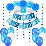 Lycklig Födelsedags Dekorationer Pojke, 1 Lycklig Födelsedag Flaggbaner + 8 Blommor Pom Poms + 6 Meter Stjärnor Girlander + L