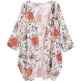JURTEE Cardigan di Pizzo Manica Lunga Kimono Allentato Chiffon Stampa Floreale da Donna Camicetta Donna Elegante Taglie Forti