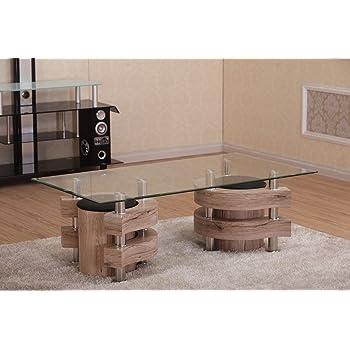 Couchtisch Mit 2 Hocker 130x70 San Remo Eiche Hocker Glas Tisch Holz