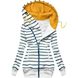 Felpa da Donna Fashion Plaid Print Jacket Zipper Cappotto Manica Lunga con Tasca